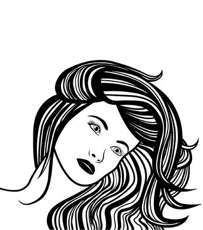 Girl with long hair Stock Vector - 18530548
