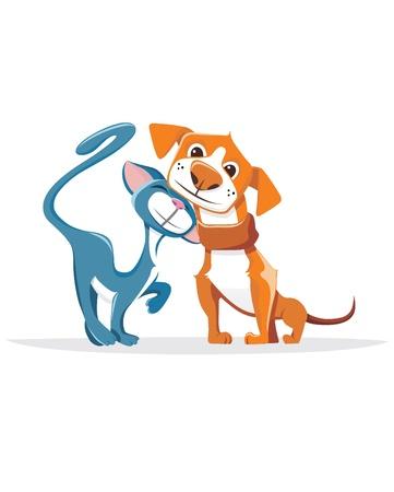 woman dog: Gato y perro Vectores