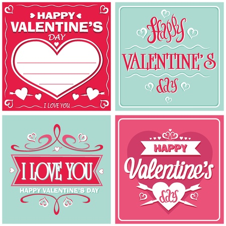 happy valentines day cards with ornaments, hearts, ribbon and arrow