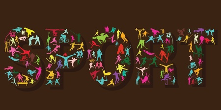 Sport silhouettes in letters Illustration