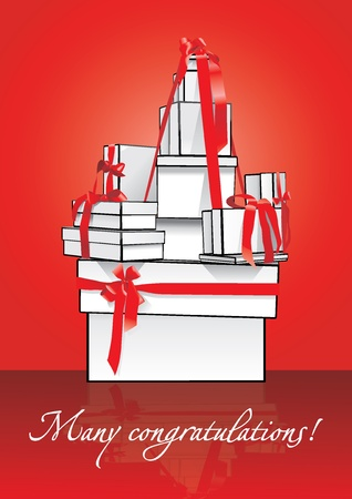 gift in box with red ribbon and bow Illustration