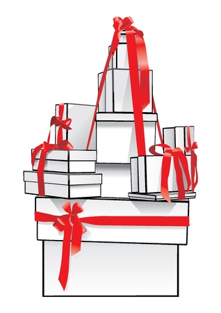 gift in box with red ribbon and bow Stock Vector - 18812835