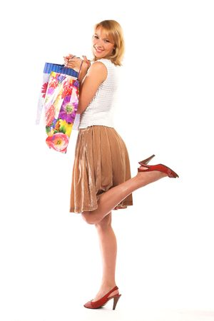holiday spending: happy girl with shopping bags Stock Photo