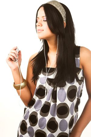 melodies: music for your ears - happy girl listening to loud melodies Stock Photo
