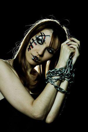 gothic fetish: Goth, beautiful gothic girl in black fashion dress Stock Photo