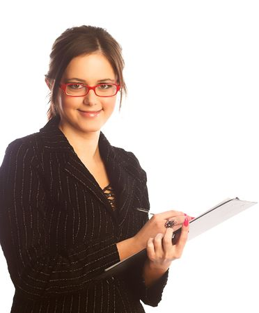 Satisfied businesswoman. Isolated over white. Stock Photo - 2042732