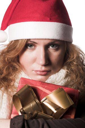 female santa claus holding presents  Stock Photo