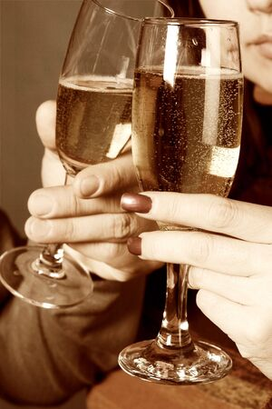 Young people with champagne glasses Stock Photo