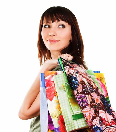 Shopping sexy woman over a white background