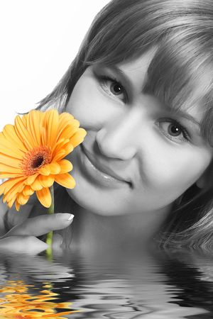 Blondy with flower in water