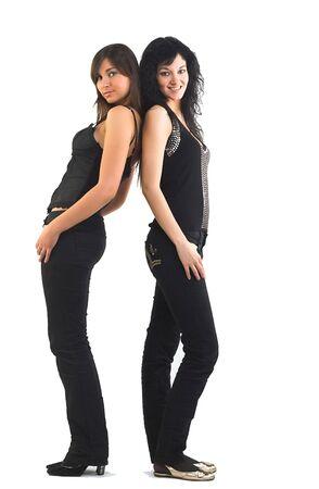 Two beautiful models, dressed in casual wear