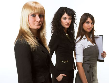 A business team lead by a business woman Stock Photo