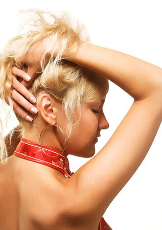 young woman with fawless skin and blond hair photo