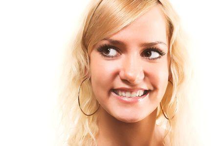 closeup portrait of happy blond\n photo