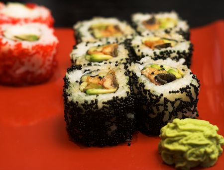 rolls with salmon, crab and avocado
