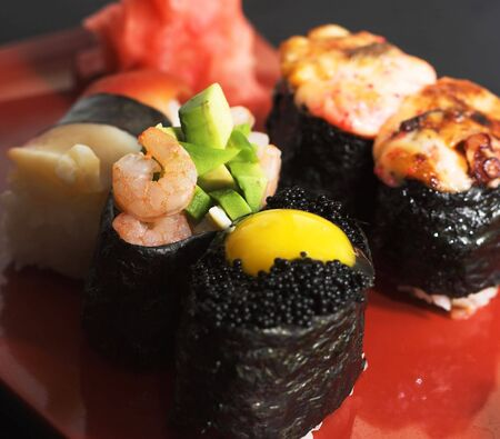 Assortiment van Japanse Sushi Stockfoto