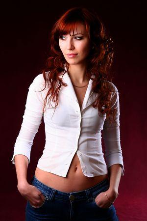Portrait of beautiful woman wearing white shirt