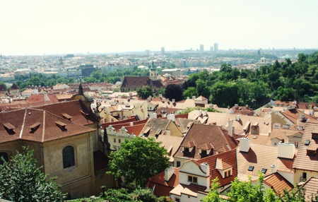 Panorama of Charles bridge, View From Castle, Prague, Czech Republic photo