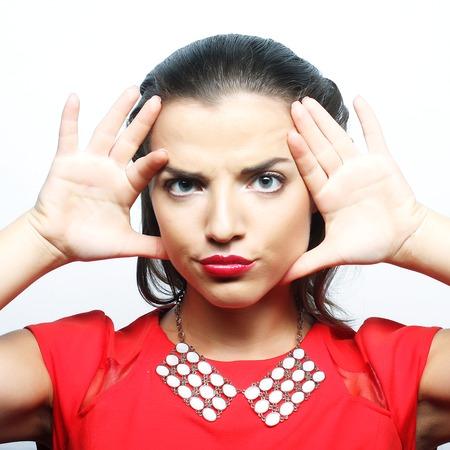 lose up: Сlose up portrait young emotional woman�? Studio shot. Stock Photo