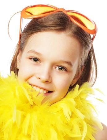 Petite fille heureuse avec des lunettes de carnaval fun orange Banque d'images - 36239325
