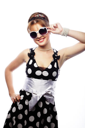 pinup: Young happy pin-up woman, glamour lady Stock Photo