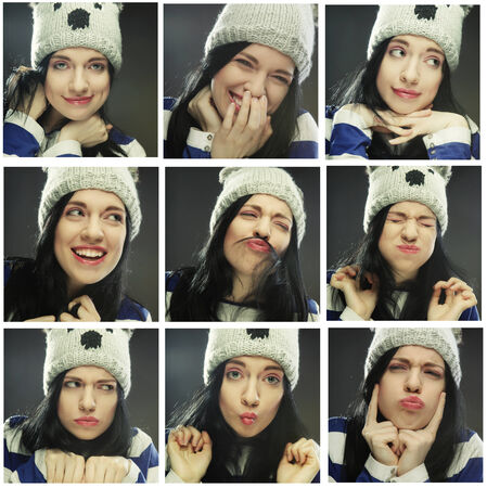 diferent: Collage of the same woman in winter hat making diferent expressions.Studio shot.r