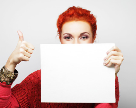 young casual woman happy holding blank sign, happy time Banque d'images