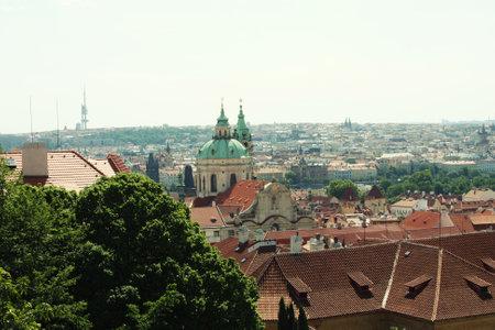 Panorama of Charles bridge, View From Castle, Prague, Czech Republic