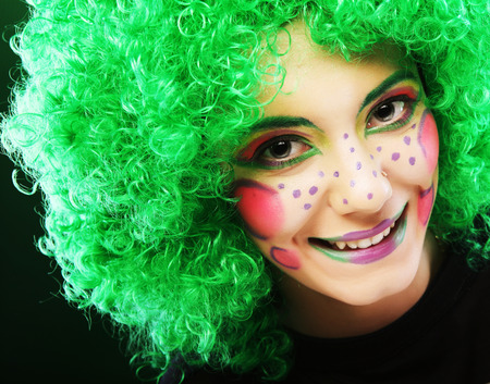 puckering lips: crazy woman with creative visage