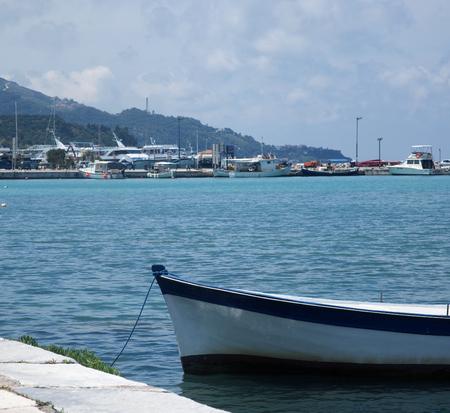 moored: Fishing boats moored in port in Zante town, Zakynthos, Greece