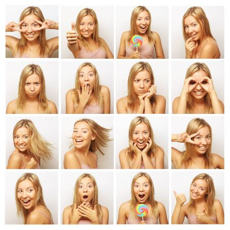 expression: Collage of the same woman making diferent expressions. Studio shot. Stock Photo