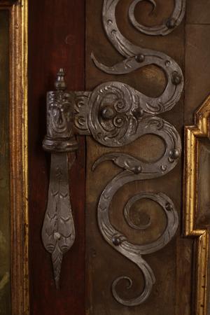 Vintage silver door, Prague photo