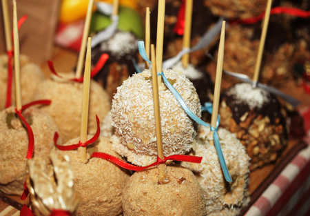 guy fawkes night: Tray full of caramel and candied apples. Stock Photo