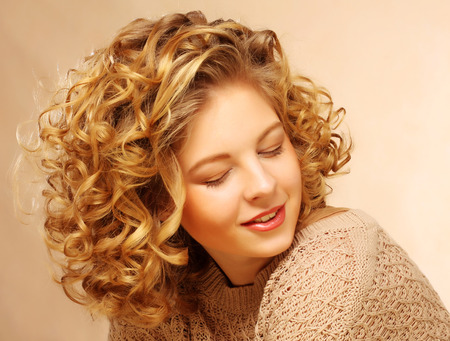 girl models: beautiful woman with curly hair Stock Photo