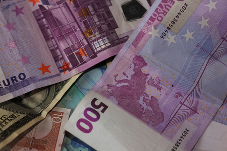 Dollar and euro notes. Stock Photo