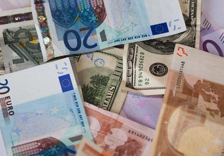 valorization: Dollar and euro notes. Stock Photo