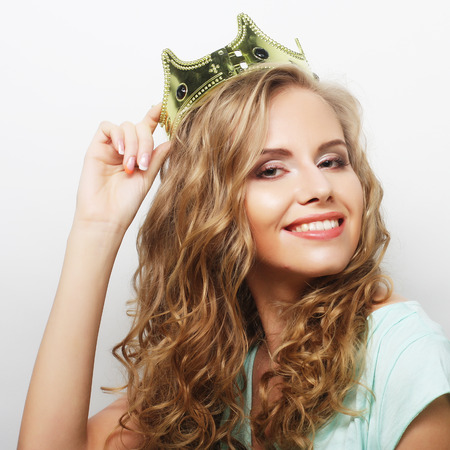 young lovely expression woman in crown Banco de Imagens