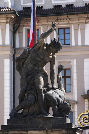 portal: Travel concept - statue on the portal from castle in Prague