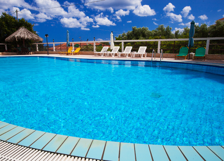 residential settlement: Swimming pool at holiday villa in Greece.