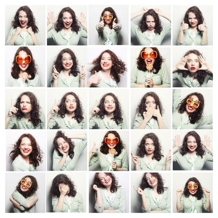 funny faces: Collage of woman different facial expressions.Studio shot. Stock Photo