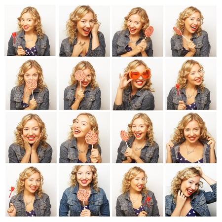 diferent: Collage of the same woman making diferent expressions. Studio shot. Stock Photo