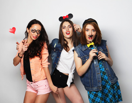 stylish sexy hipster girls best friends ready for party Stock Photo