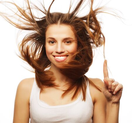 flyaway: Pretty girl with great fly-away hair. Over white background