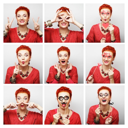 expression: Collage of woman different facial expressions.Ready for party. Stock Photo