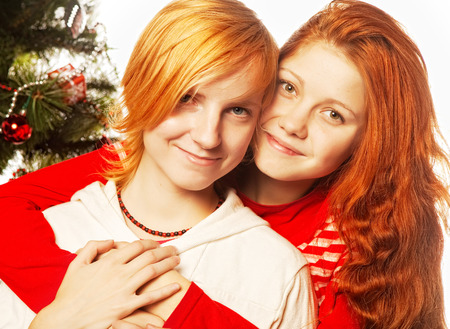 Two girl friends. Christmas holiday.