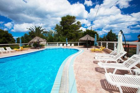 Swimming pool at holiday villa in Greece.