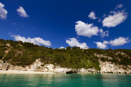 Blue caves along the shore of Zakynthos island, Greece photo