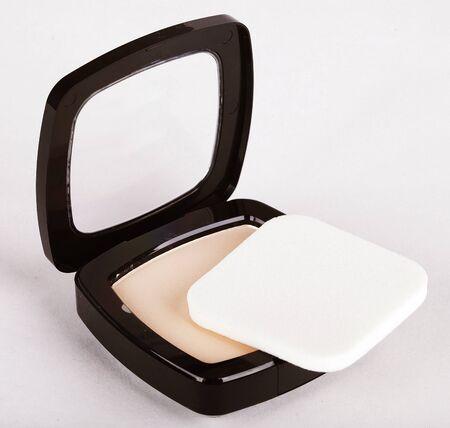 make up brush: Make-up powder in box and make up brush isolated on white Stock Photo
