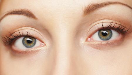 Macro image of human eye. Young Woman. Stock Photo