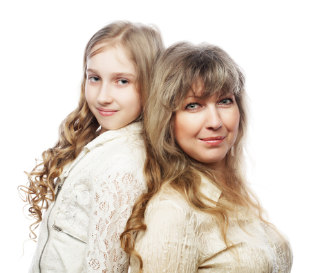 10 to 12 years old: mother and daughter, happy family, isolated on white